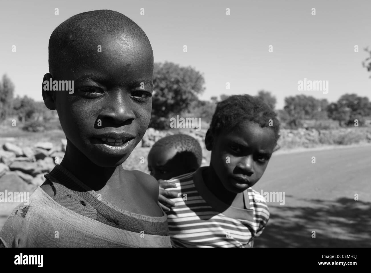 Portrait of three young Malian childrens. Stock Photo