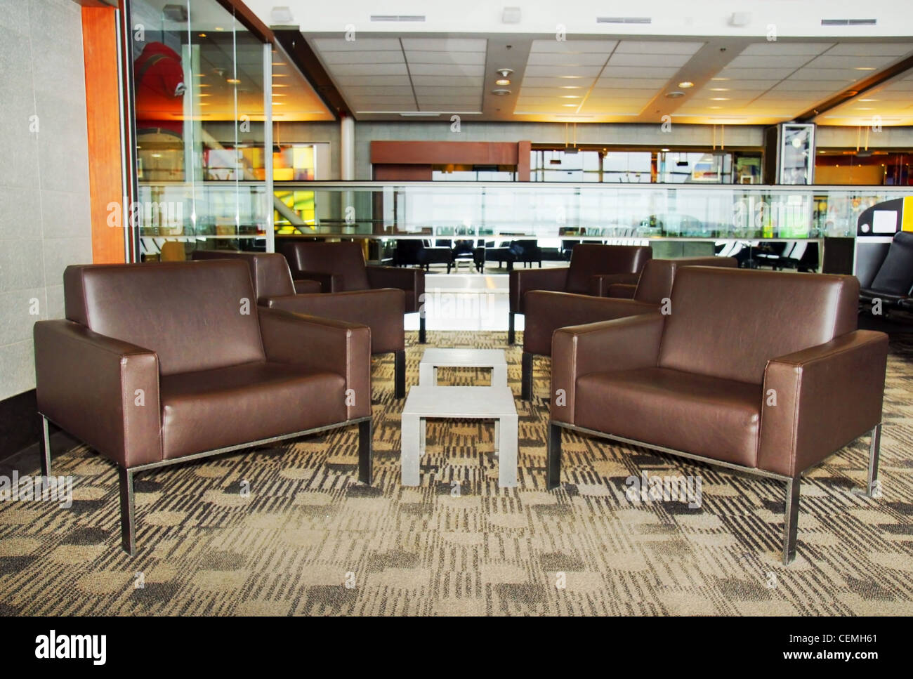 Awe Inspiring Modern Waiting Area With Brown Leather Chairs Tables At An Gmtry Best Dining Table And Chair Ideas Images Gmtryco
