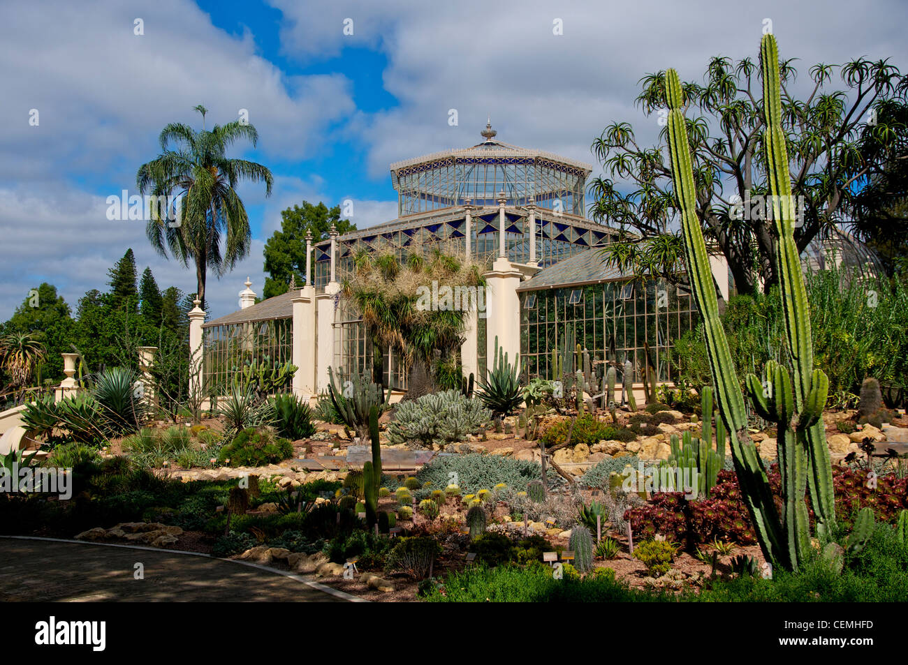 Victorian Palm House With The Foreground Of Succulents And Cacti In The  Botanic Gardens Adelaide South Australia