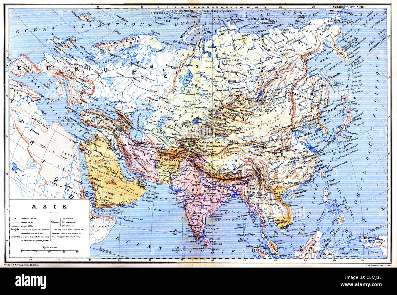 Map Of Asia Cities.The Map Of Asia With Names Of Cities And Countries On Map Stock