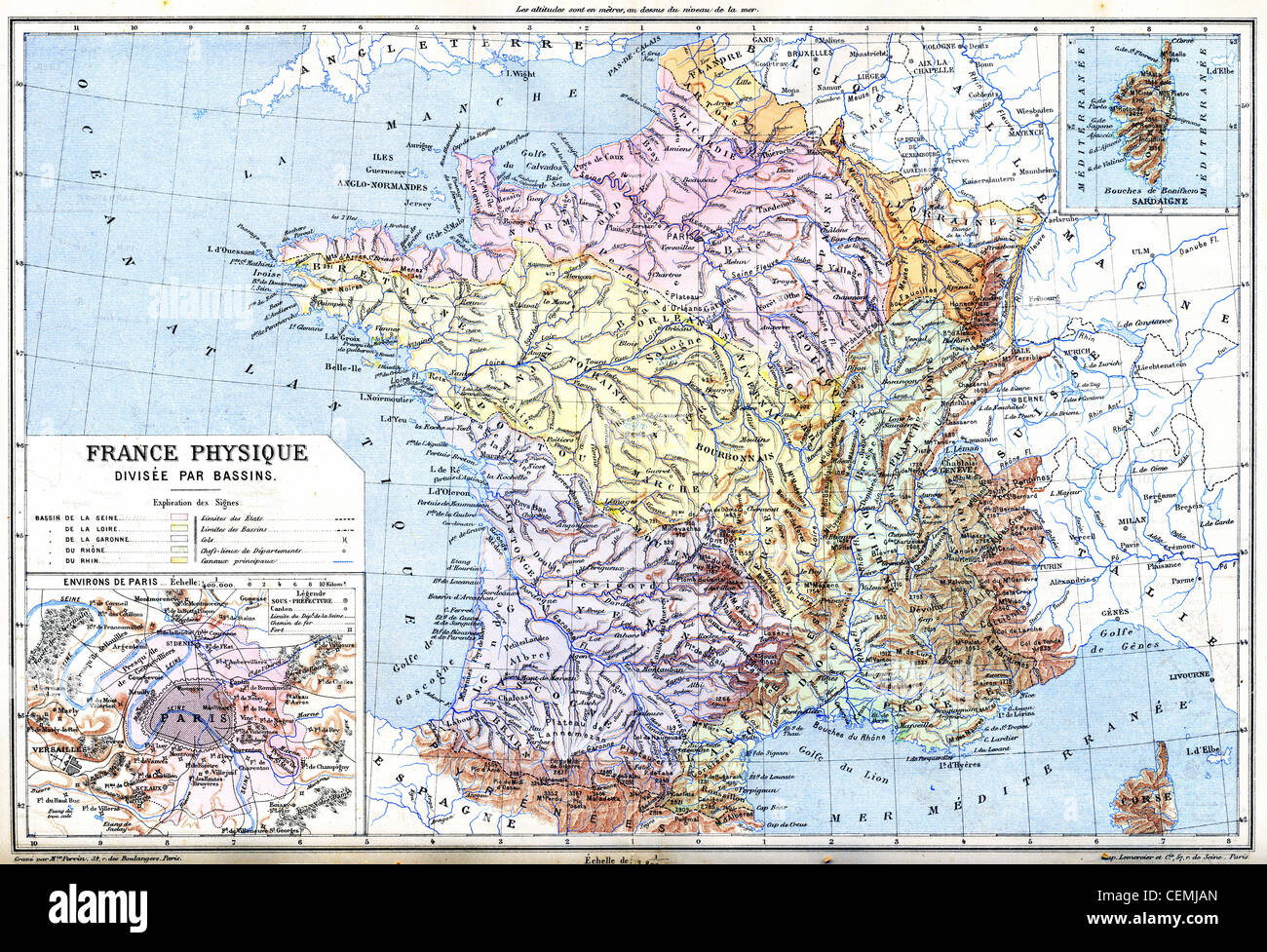 The Map- France physical (France - Divided into Basins) with ...