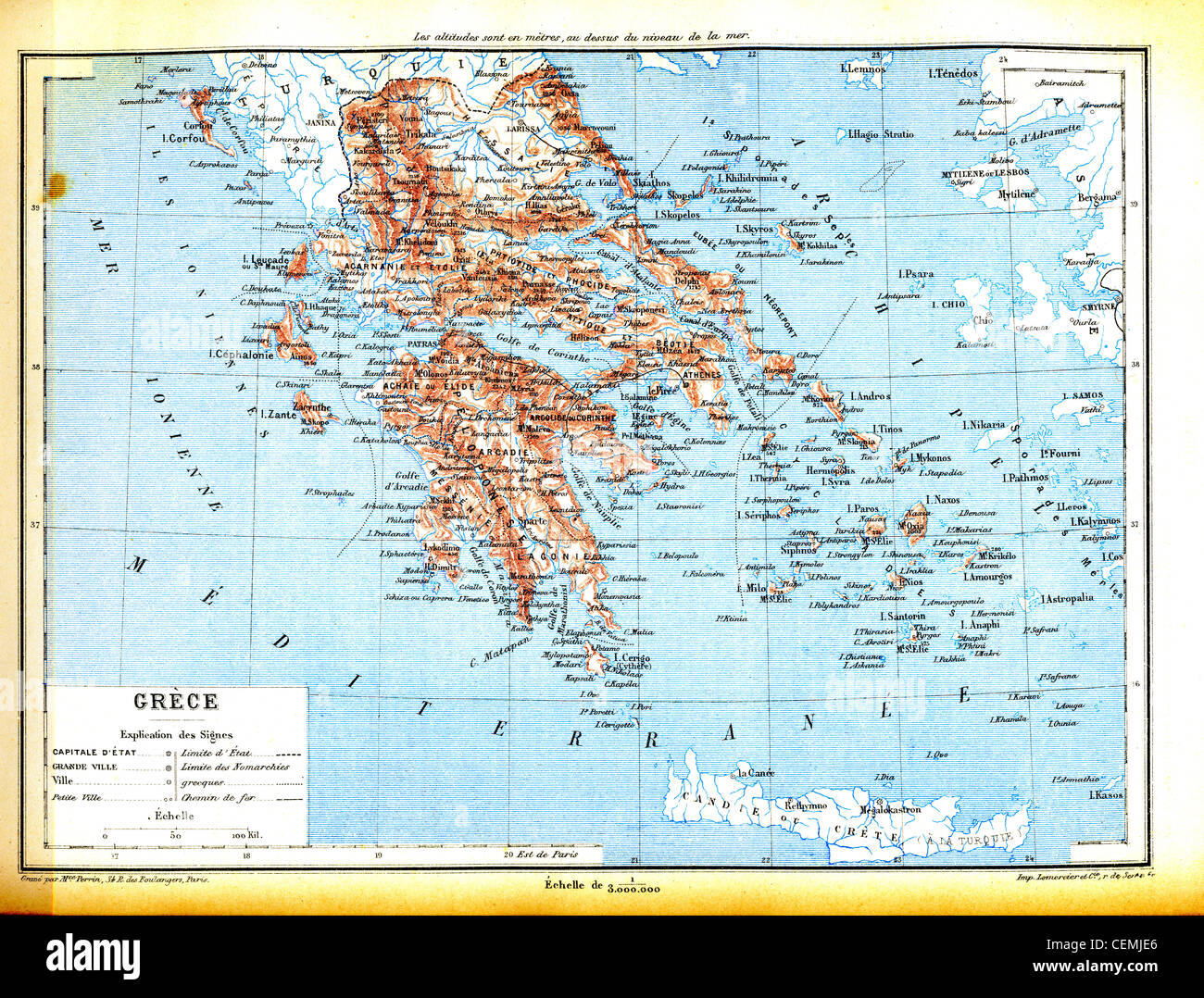 The map of Greece with explanation of signs on map. Stock Photo