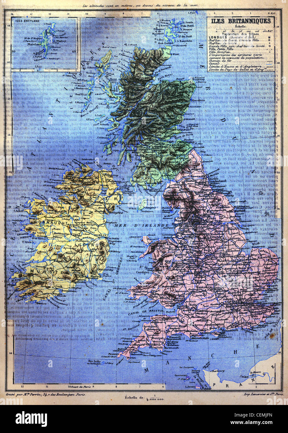 The map of British Isles with signs and their explanation. Stock Photo