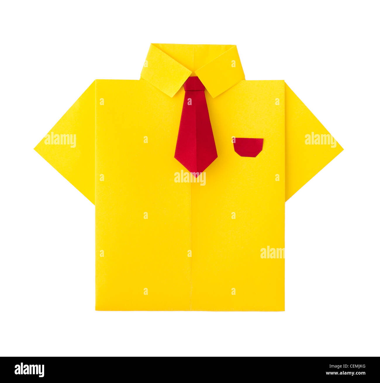 Origami Yellow Shirt With Tie White Isolated Stock Photo 43479620