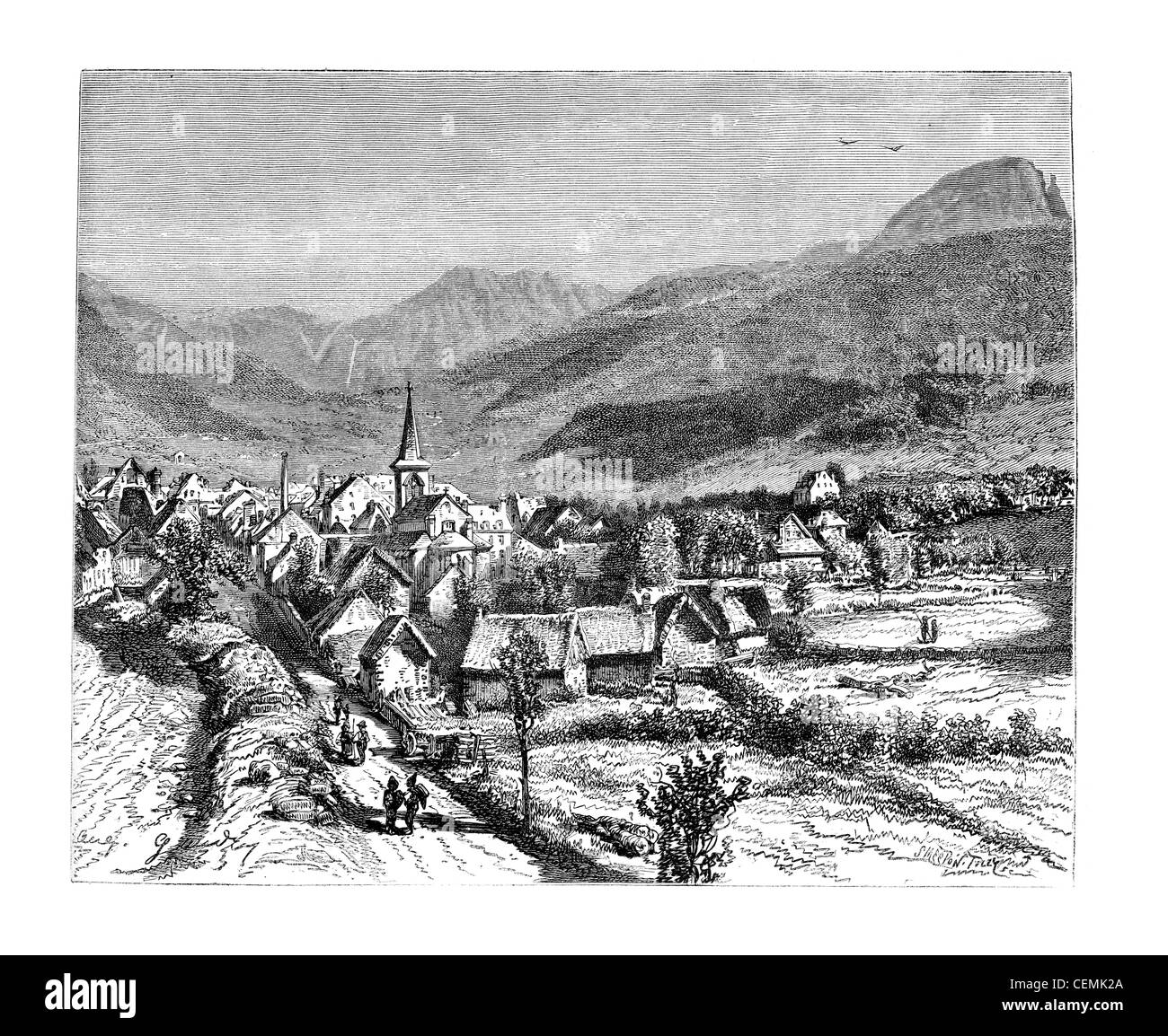 Town of Mont-Dore-les-Bains, vintage engraved illustration. Magasin Pittoresque 1875. - Stock Image