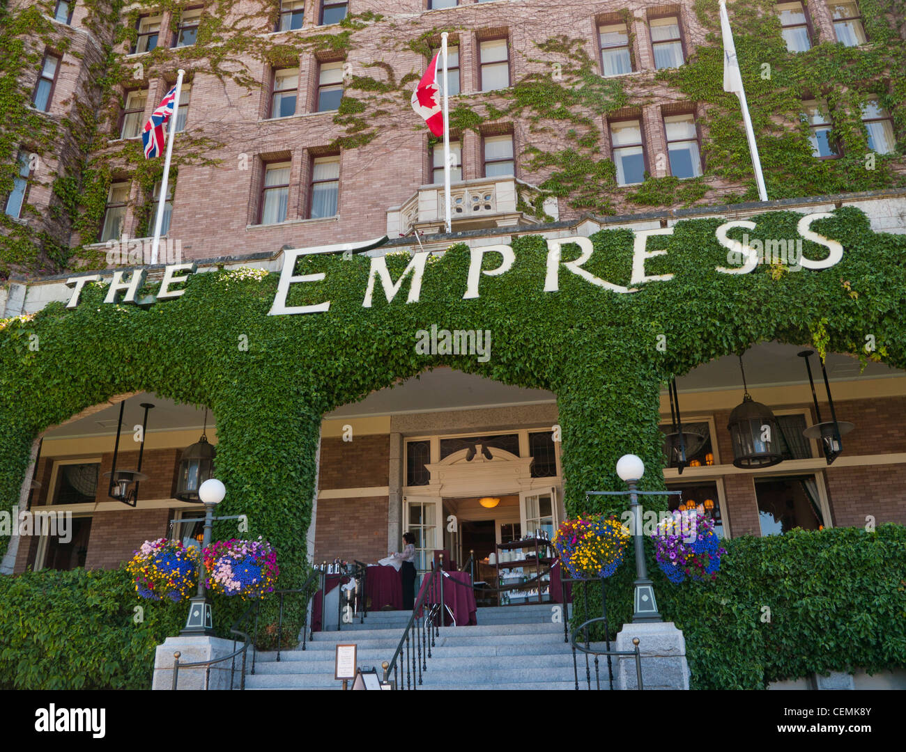 The main entrance to the Empress Hotel in Victoria on Vancouver Island in Canada - Stock Image