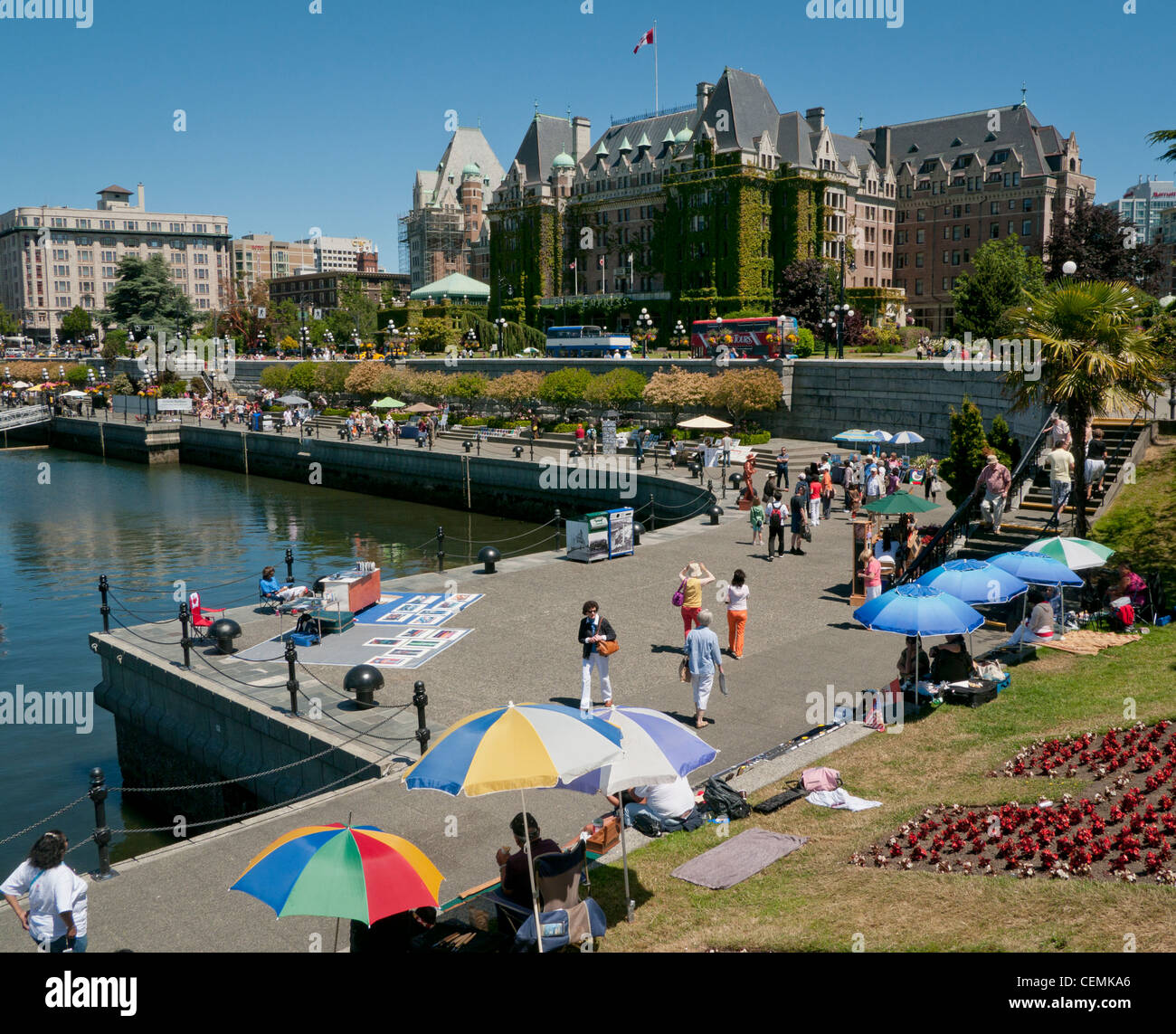 The Lower Causeway Promenade and The Empress Hotel in Victoria on Vancouver Island in Canada - Stock Image