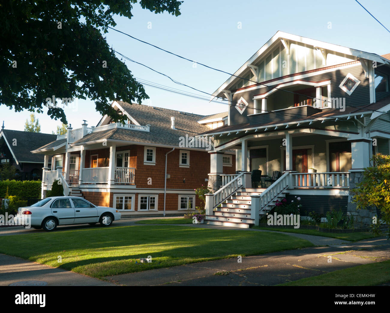 Houses in a suburb of Victoria on Vancouver Island in Canada - Stock Image