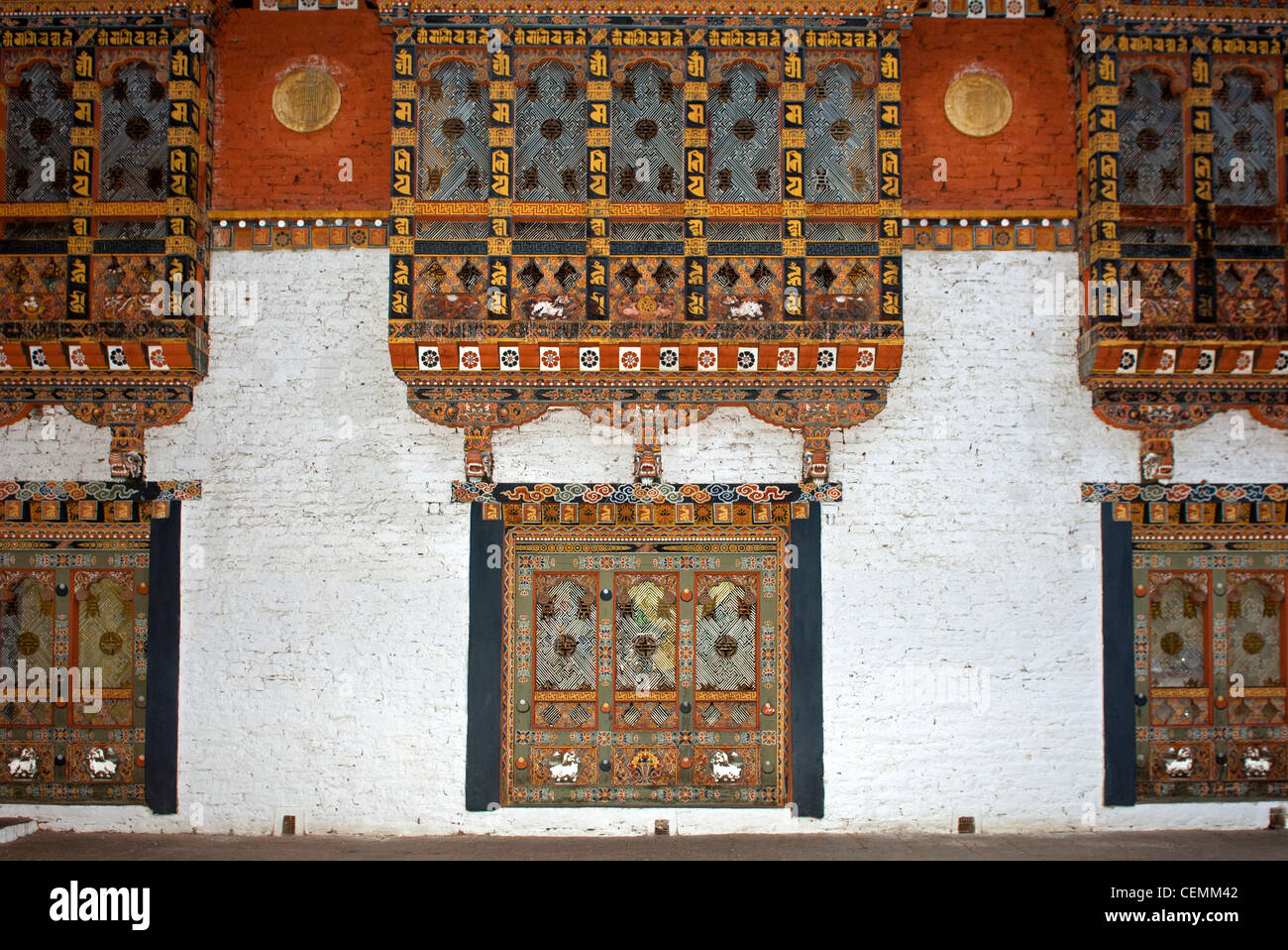 ornate window in typical Bhutanese architecture in the fortress Phunaka Dzong or Punthang Dechen Phodrang Dzong, - Stock Image