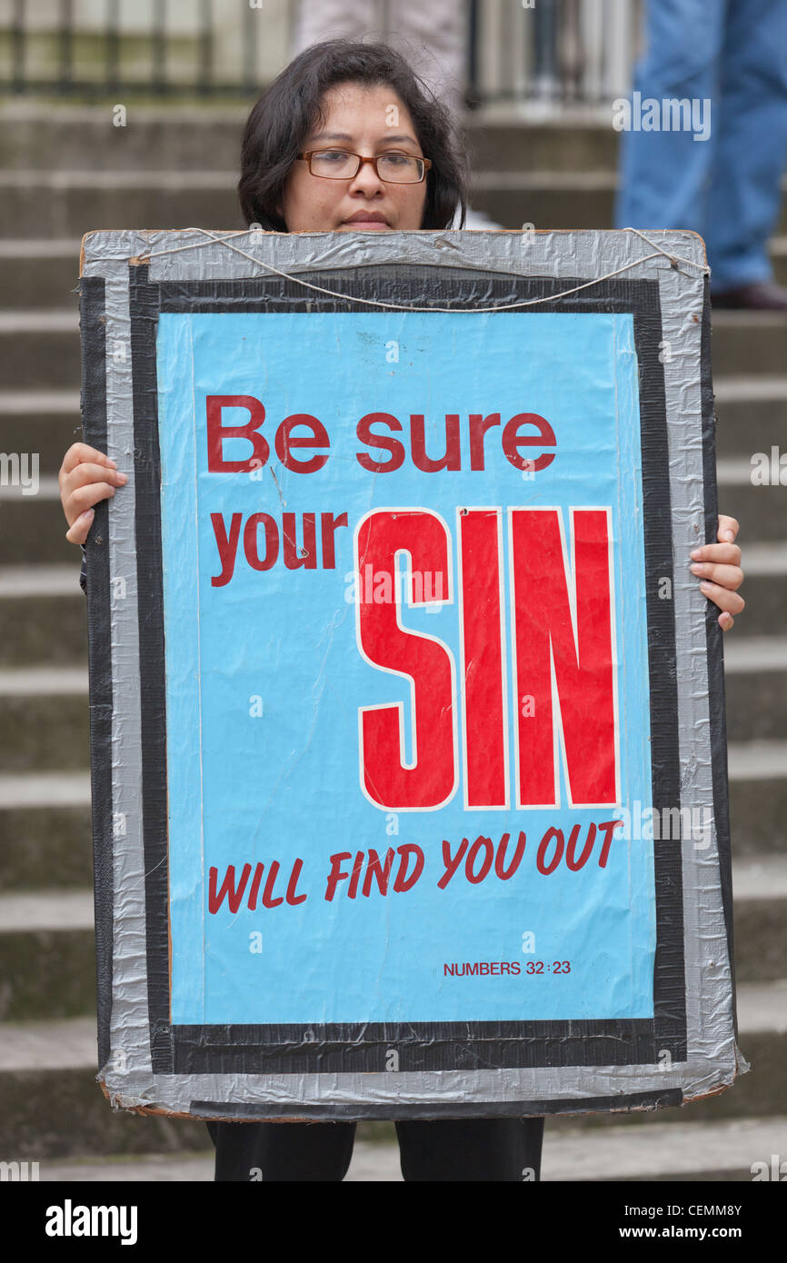 christian religious protester be sure your sin will find your out sign banner Stock Photo