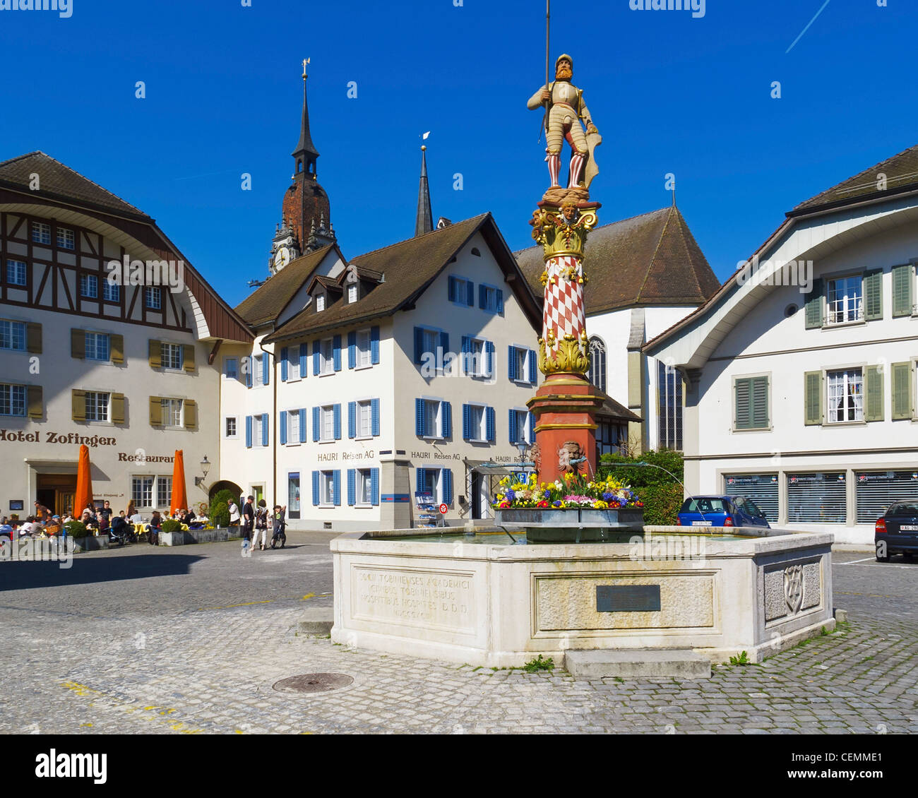 Statue of Niklaus Thut in Zofingen, Argovia, Switzerland. - Stock Image