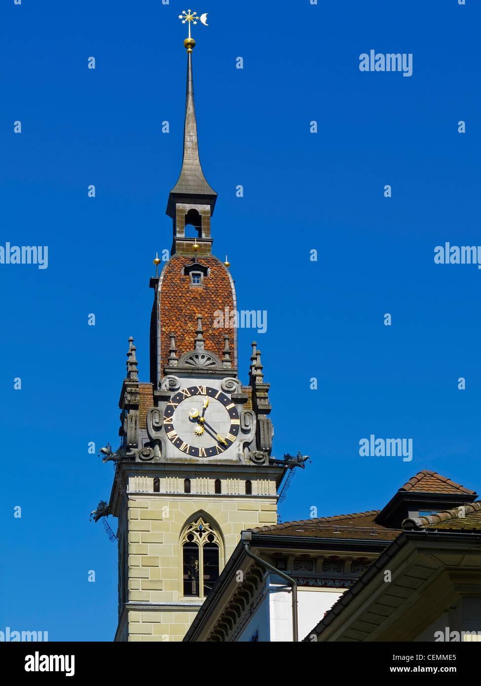 The city church and former Collegiate church (Stiftskirche) St. Mauritius is the landmark of Zofingen, Argovia, - Stock Image