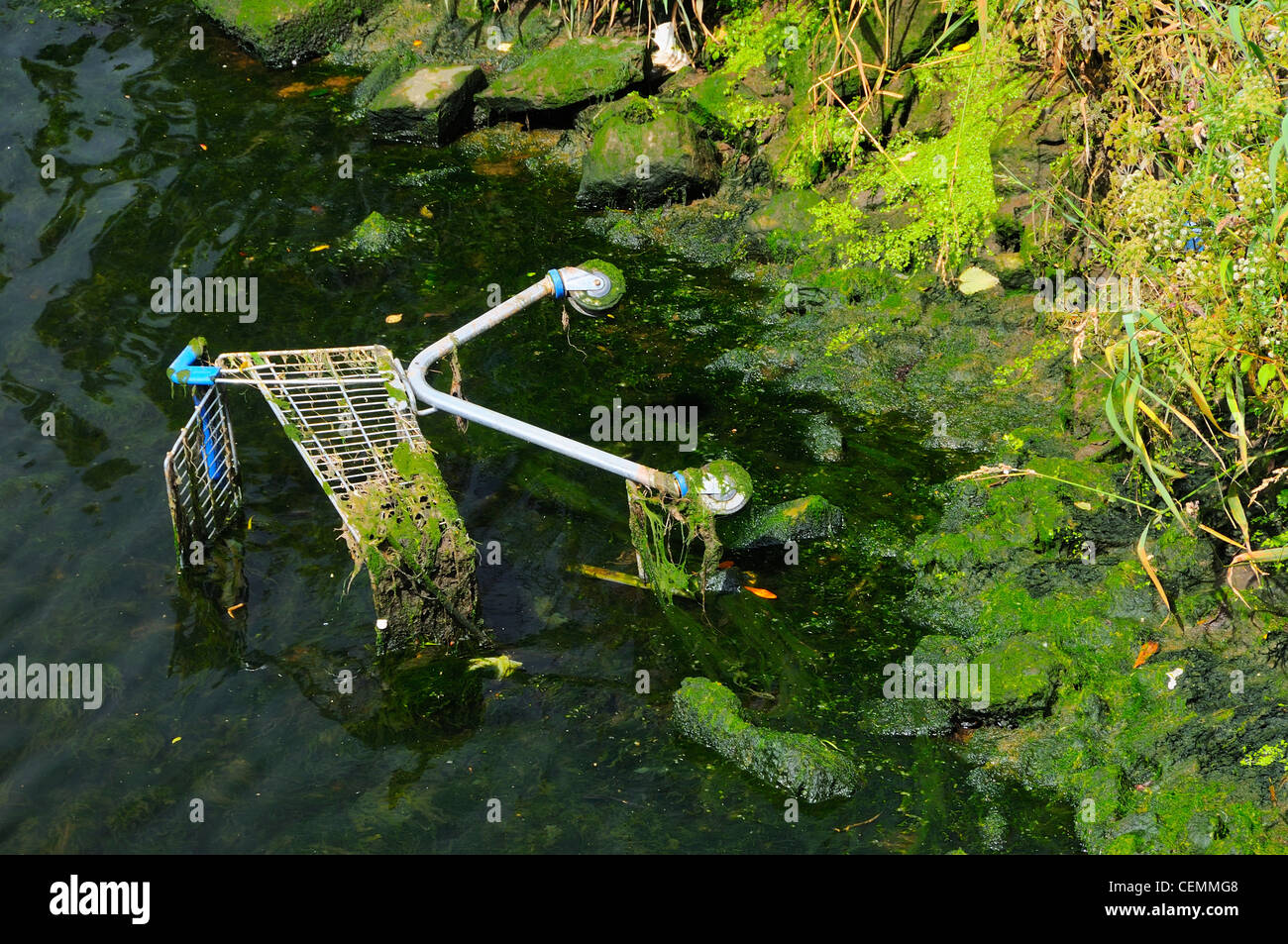 A old shopping card laying in the Cork River at the Wandesford Quay, Cork, Cork County, Ireland. - Stock Image