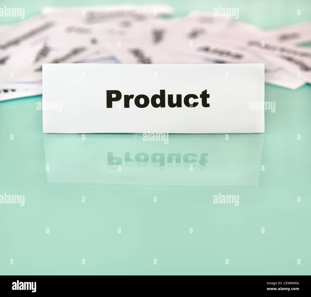 Piece of paper with product word,sign or text on it - Stock Image