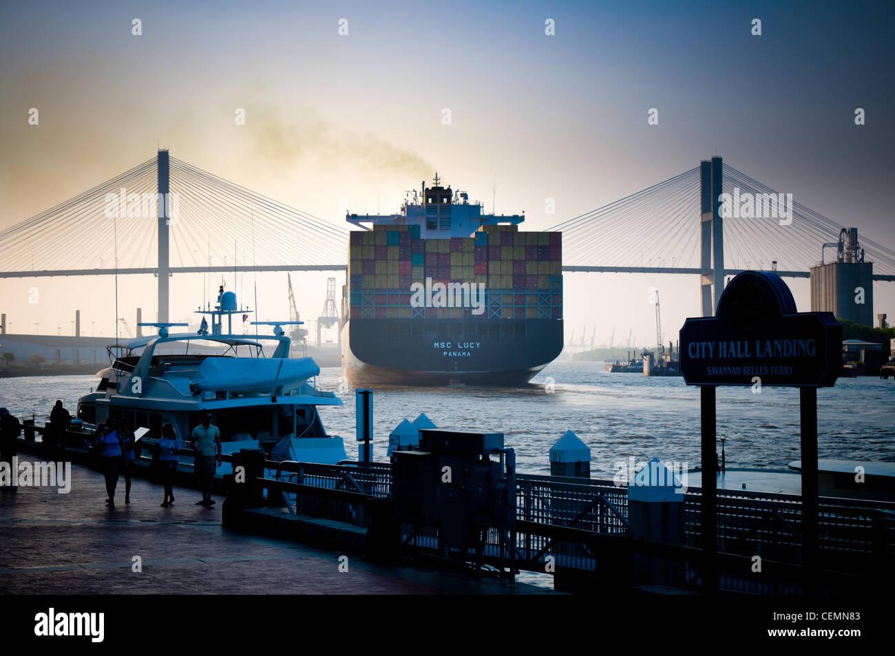 Ship going under Talmadge Memorial Bridge in Savannah, GA - Stock Image