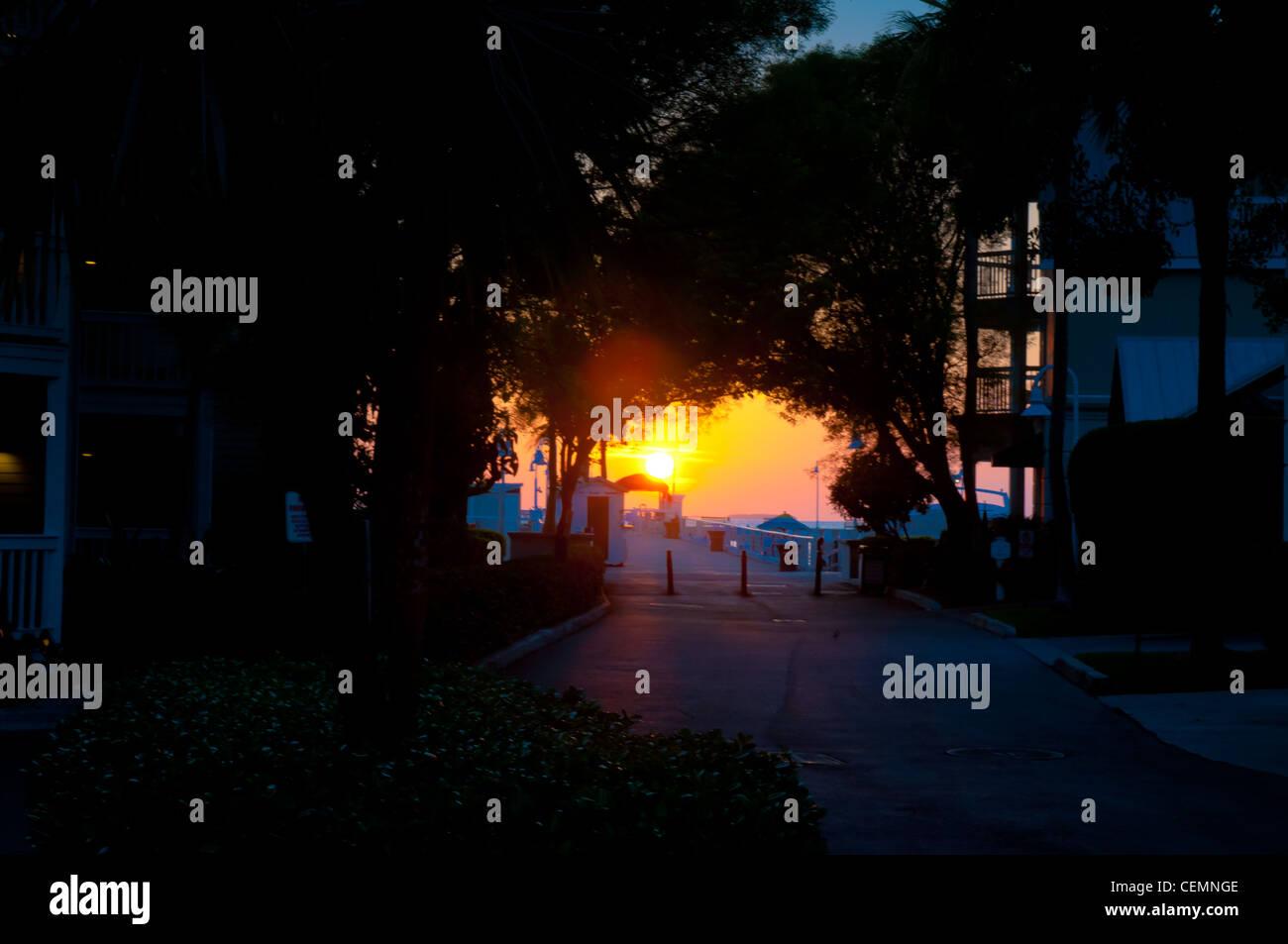Sunset on Mallory Square Key West, Florida - Stock Image