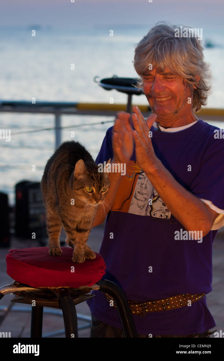 Dominique on Key West Mallory Square and cats show - Stock Image