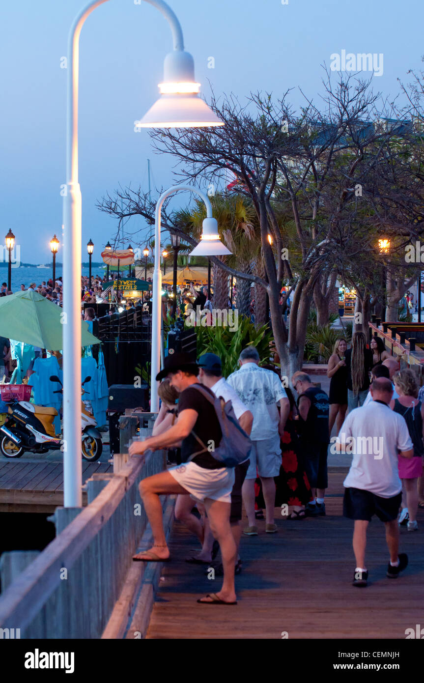 Scene on Key West Mallory Square after sunset - Stock Image