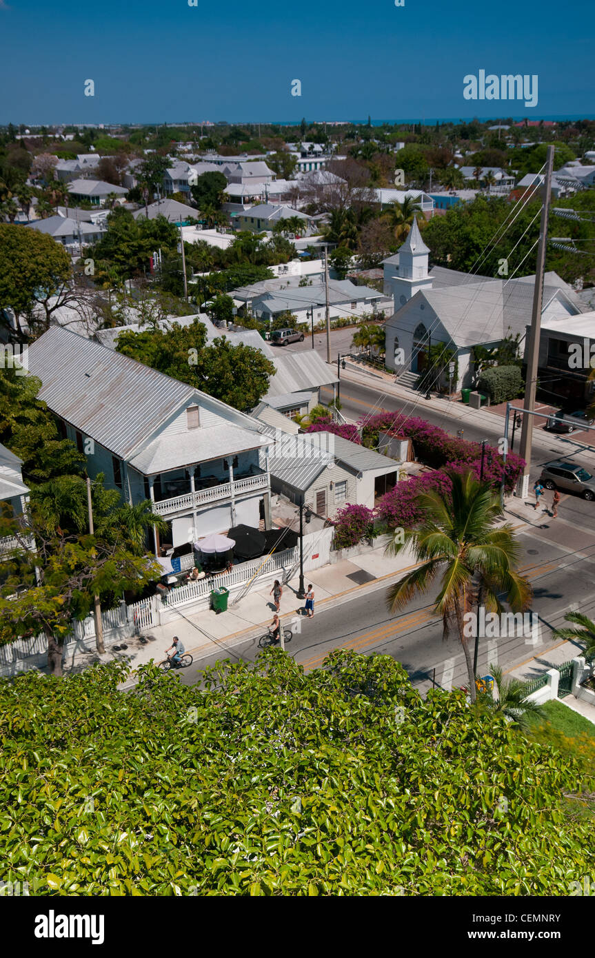 Key West panorama with Whitehead street and Newman Methodist church Stock Photo