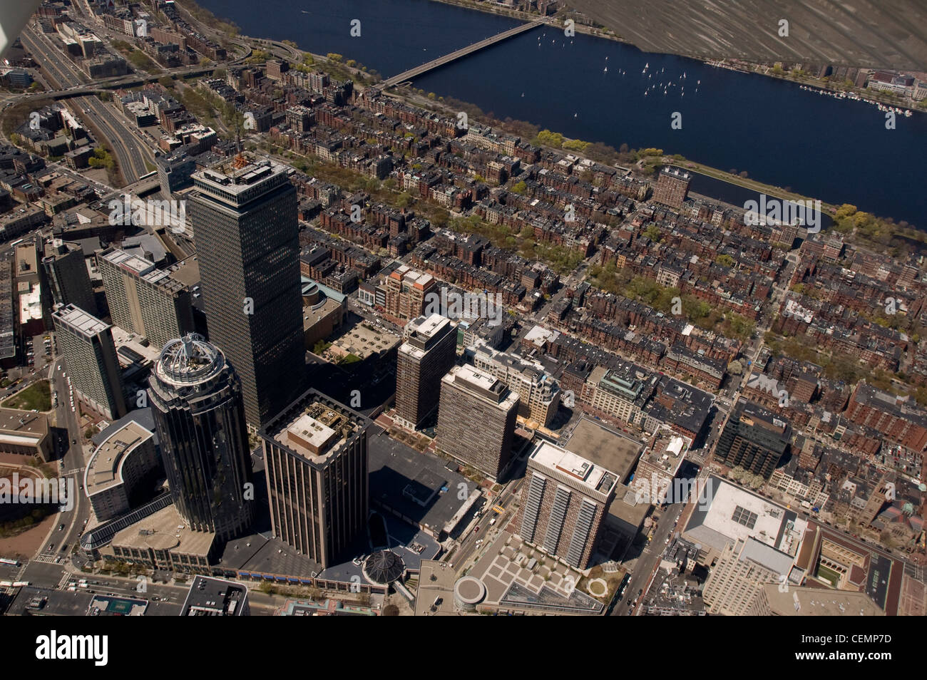Boston's Back Bay area and downtown as seen from the air on April 26, 2008. Aerial, Boston/Cambridge, MA Stock Photo