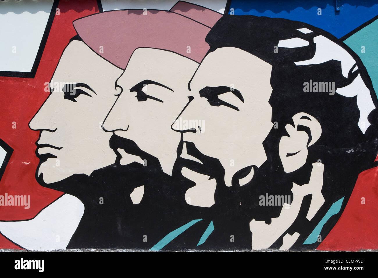 Cuba revolutionary propaganda wall art featuring Che Guevara Fidel Castro & Cuba: revolutionary propaganda wall art featuring Che Guevara Fidel ...