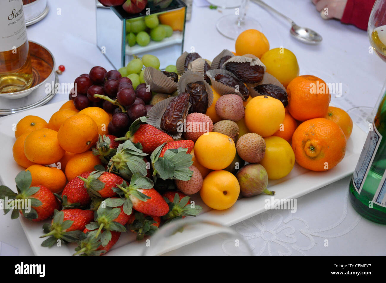 Fruit selection gastronomy dinner party table display Stock Photo