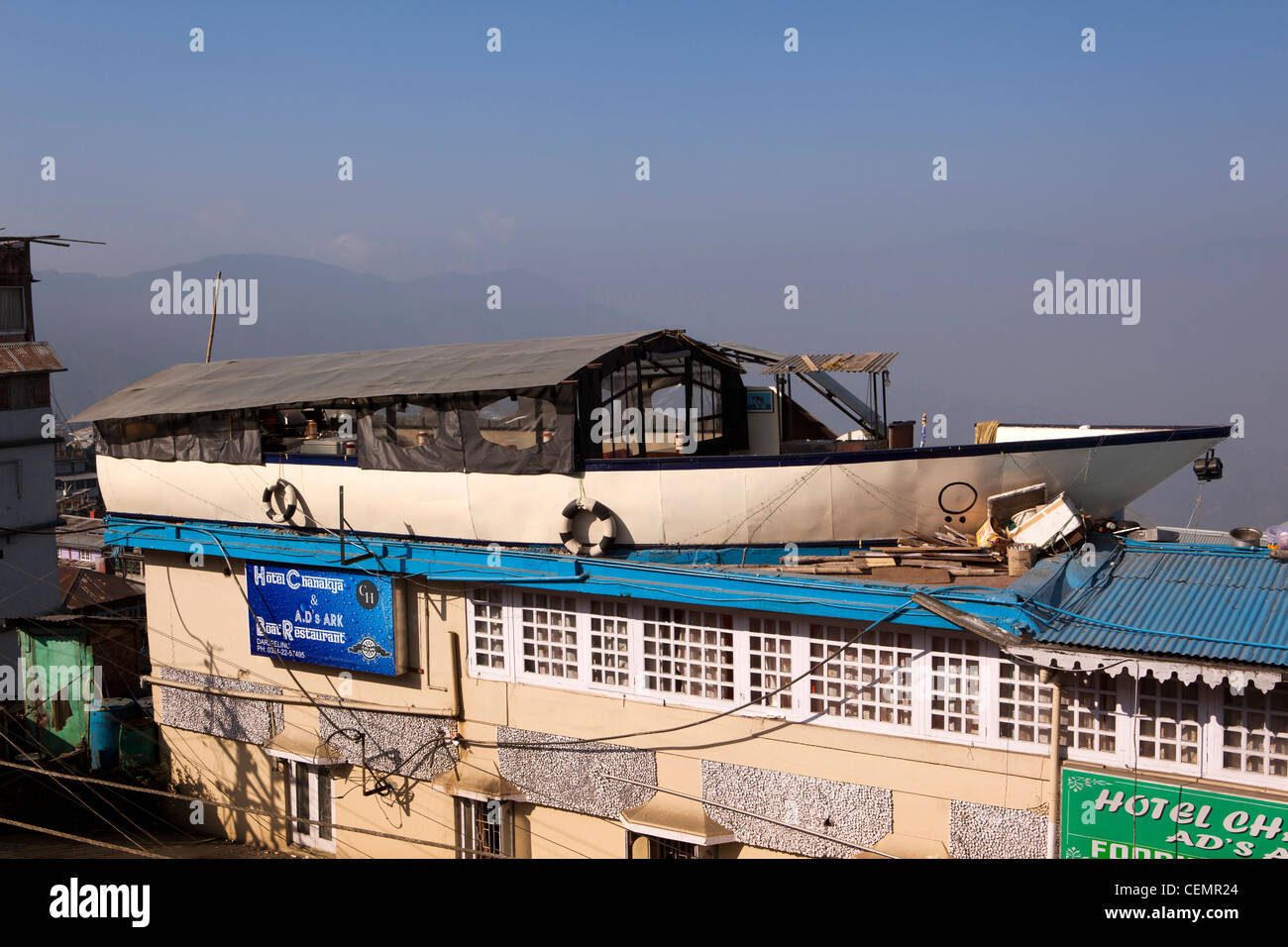 India, West Bengal, Darjeeling, eccentric architecture, boat shaped rooftop restaurant in Himalayas Stock Photo