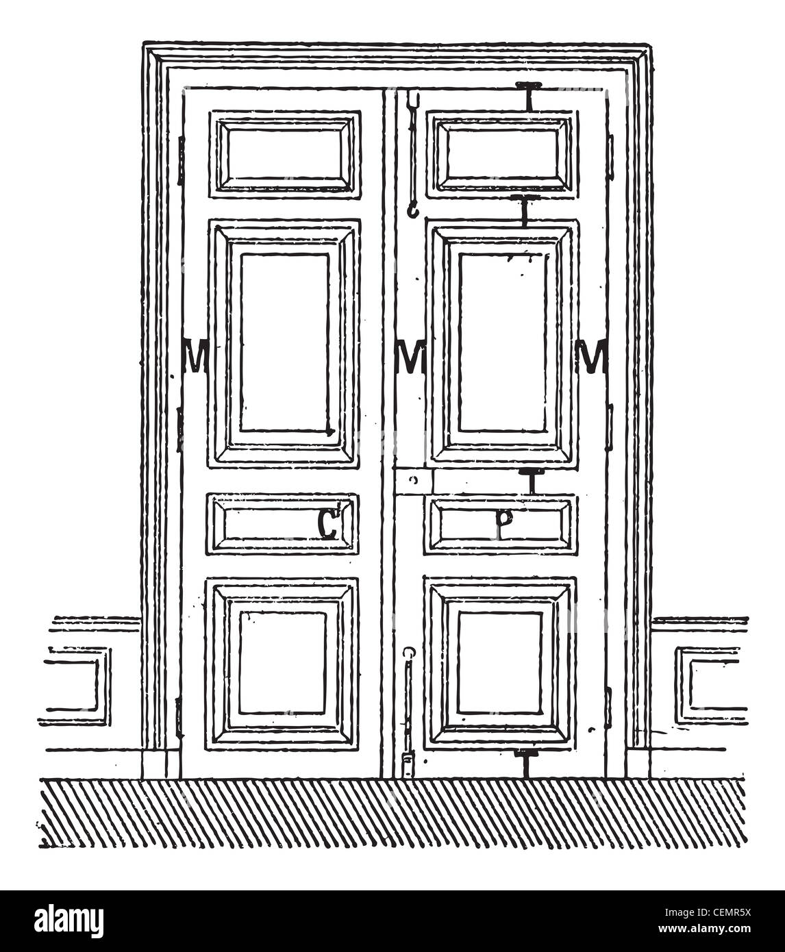 Door With Two Leaves C Frame M Amount P Billboards T Rails Vintage Engraved Illustration Dictionary Of Words And Things