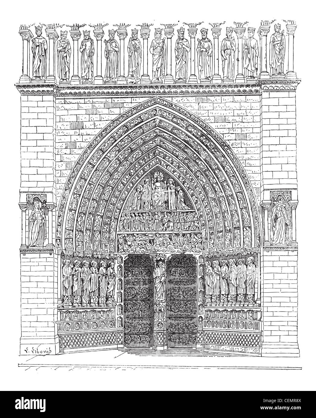 Door, Middle of the front Of Notre-Dame de Paris or Notre Dame Cathedral, vintage engraved illustration. Dictionary - Stock Image