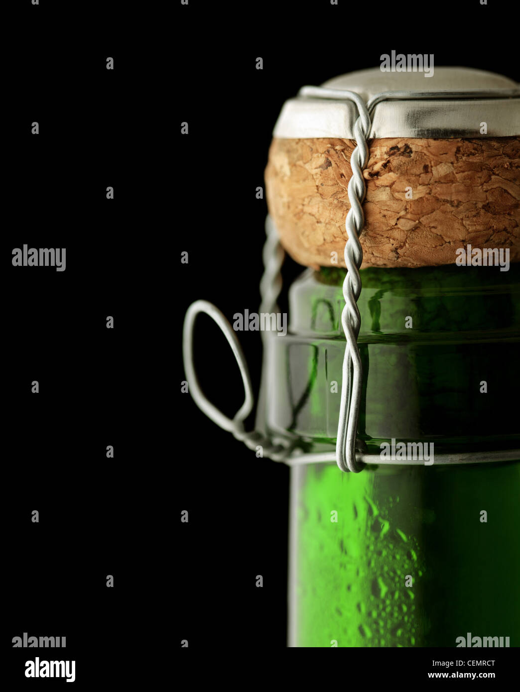 Close-up of cork on a closed bottle of Champagne Stock Photo