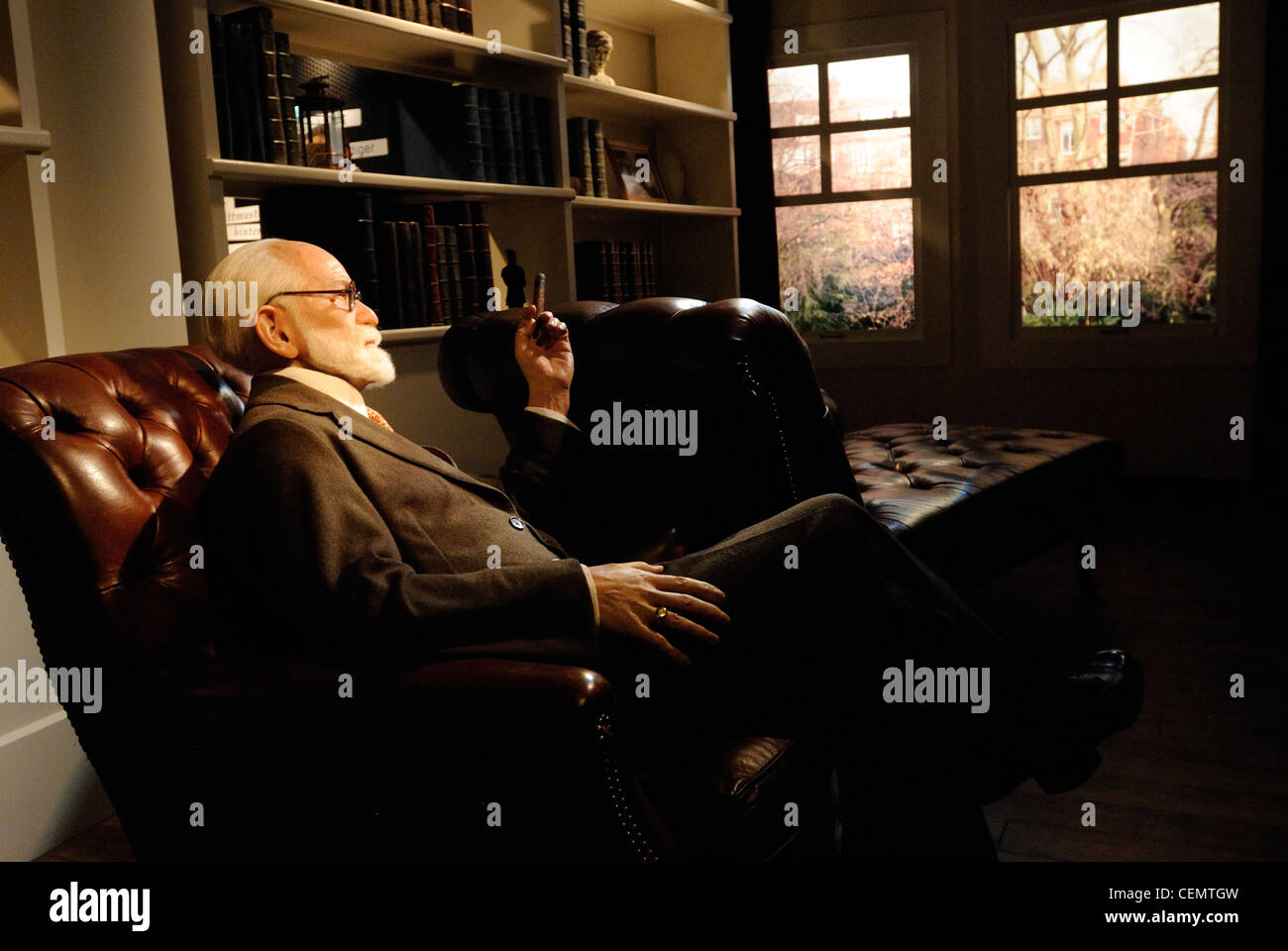 Sigmund Freud as a wax figure in Madame Tussauds Wax Museum, Unter den Linden 74, Berlin, Germany, Europe - Stock Image
