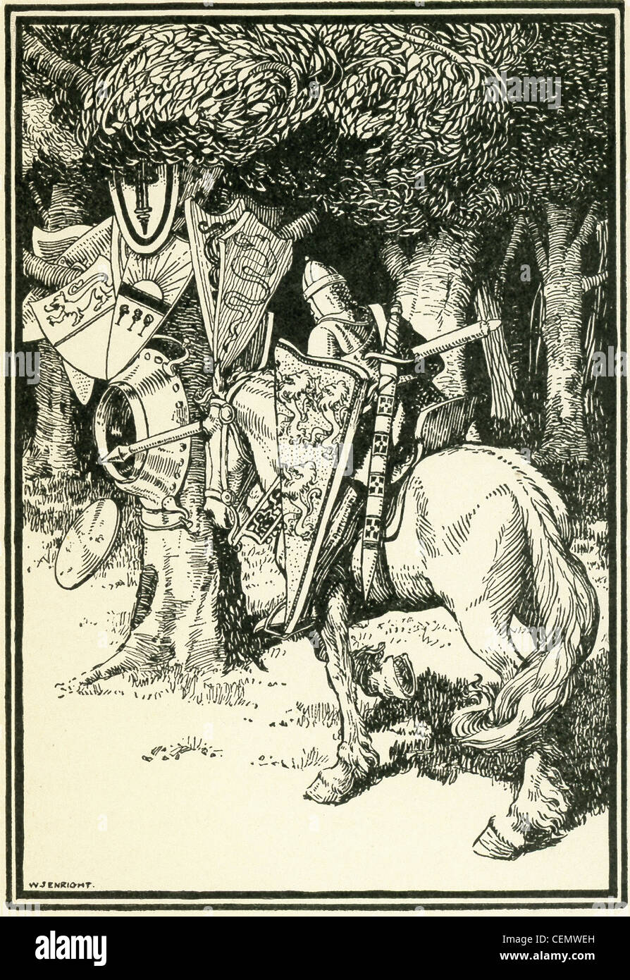 Sir Lancelot hits the bottom of an iron basin at the foot of a tree on which hung the shields of many brother knights. - Stock Image