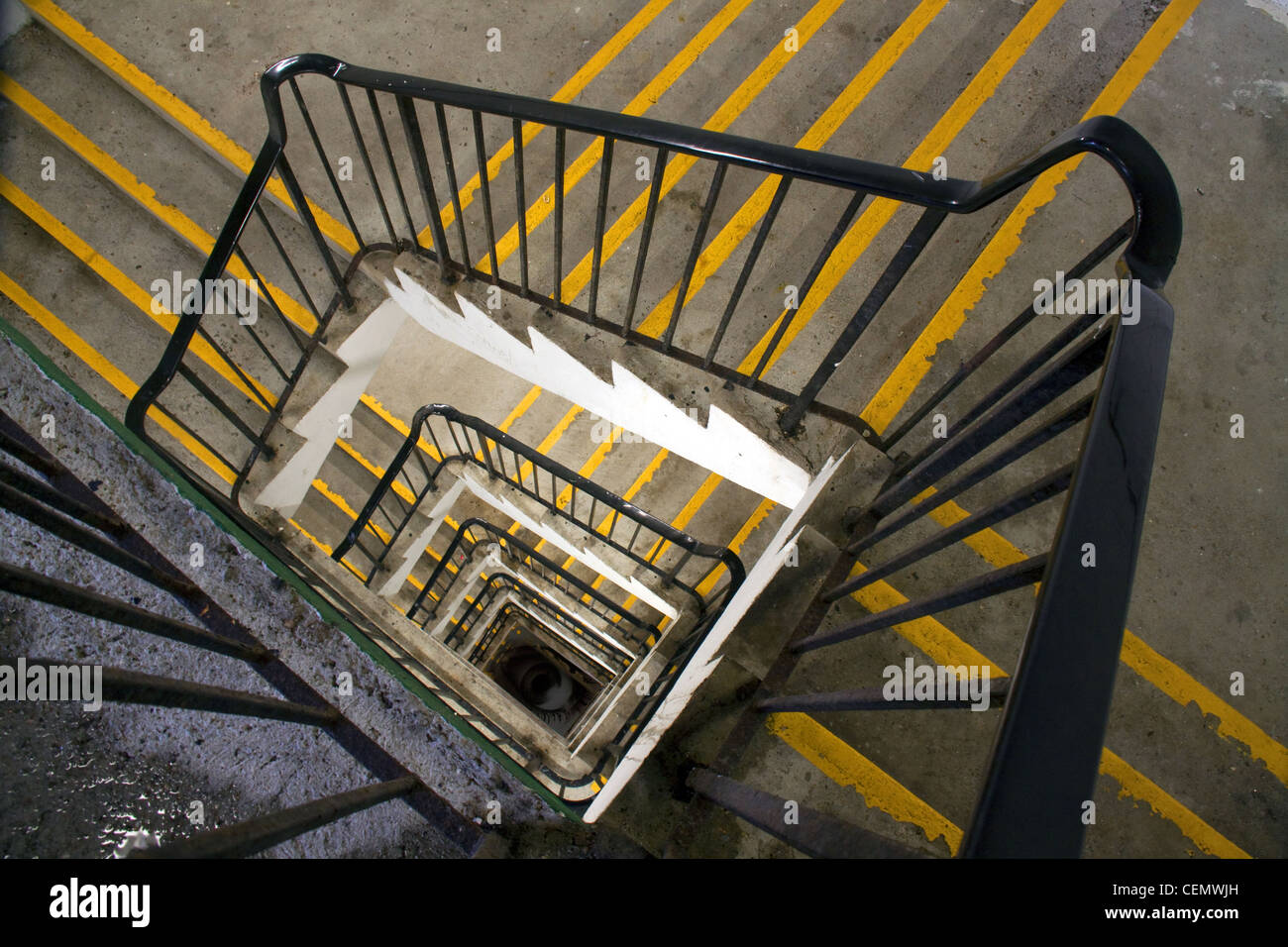 Looking down Car park stairwell, poole harbour, Dorset, England, UK - Stock Image