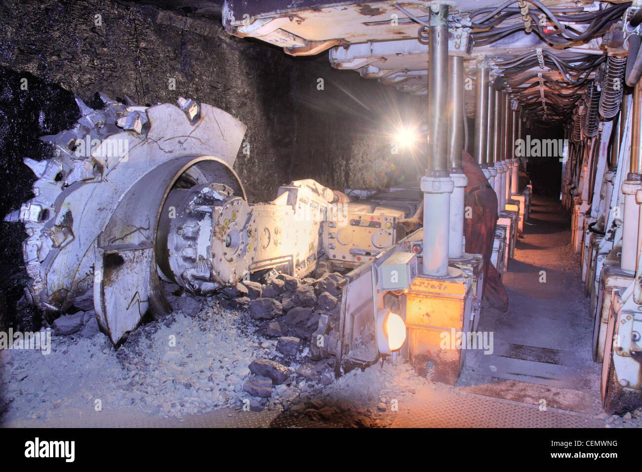 Coalface Cutting Machine Midlothian Mining Mine Museum, Scotland UK - Stock Image