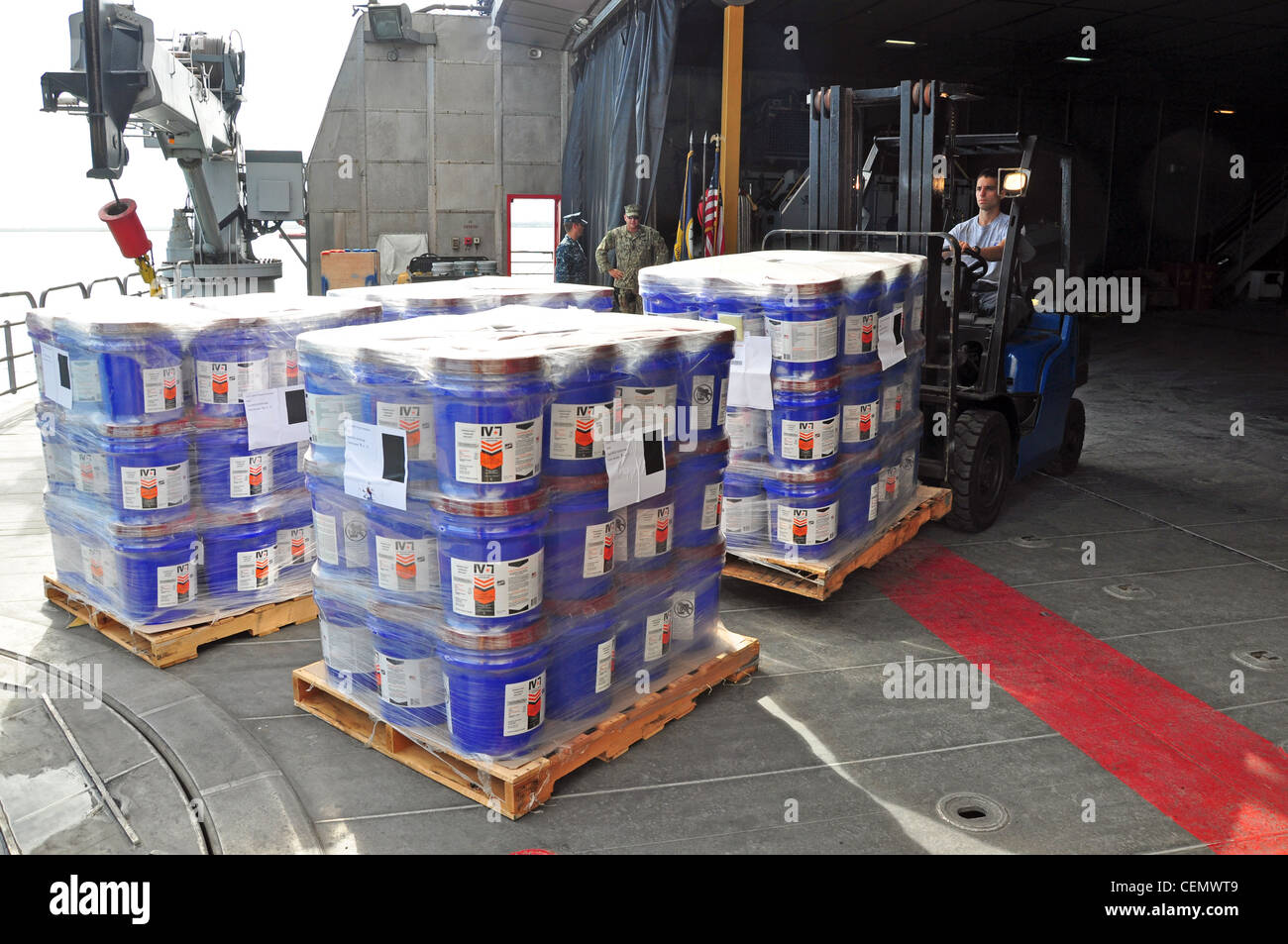Donated goods for Project Handclasp are offloaded from High Speed Vessel (HSV 2) Swift as part of Southern Partnership Stock Photo