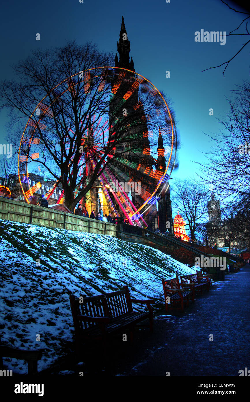 Edinburgh Big Wheel at Dusk, winter gardens at Princes St Street night shot, Scotland UK. Taken at blue hour @HotpixUK - Stock Image