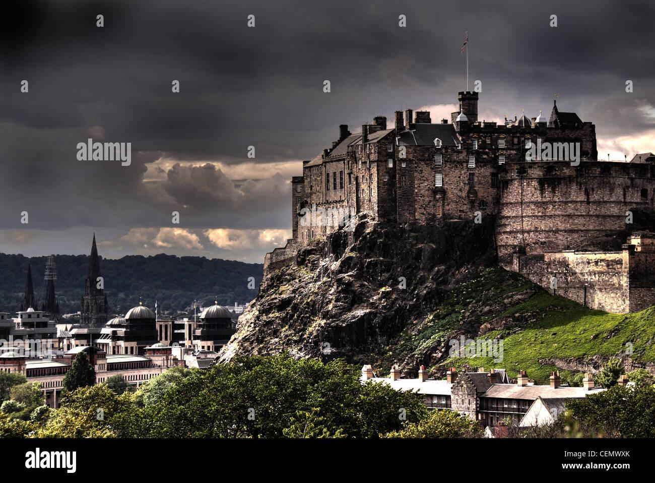 A panorama of Edinburgh Castle from Science Museum roof, Scotland's capital UK @HotpixUK Stock Photo