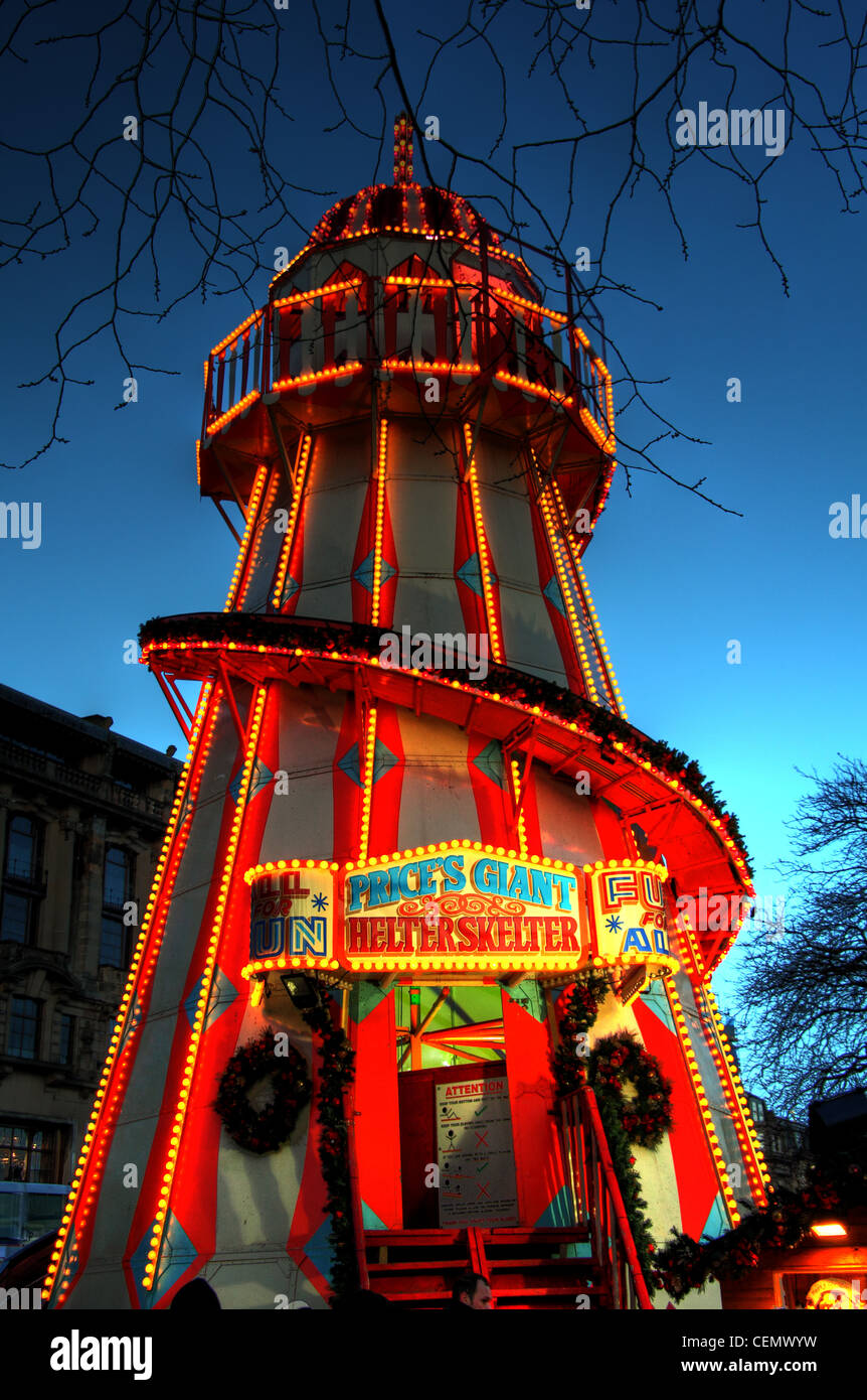 Edinburgh Helter Skelter at Dusk, winter, Christmas city night shot, with tungsten lights against the blue sky. Stock Photo