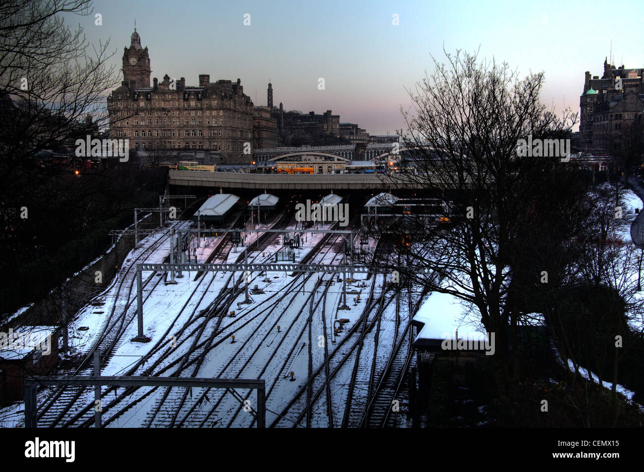 Edinburgh Waverley Station in winter snow, cold weather and ice on rail tracks in Scotland UK @HotpixUK - Stock Image