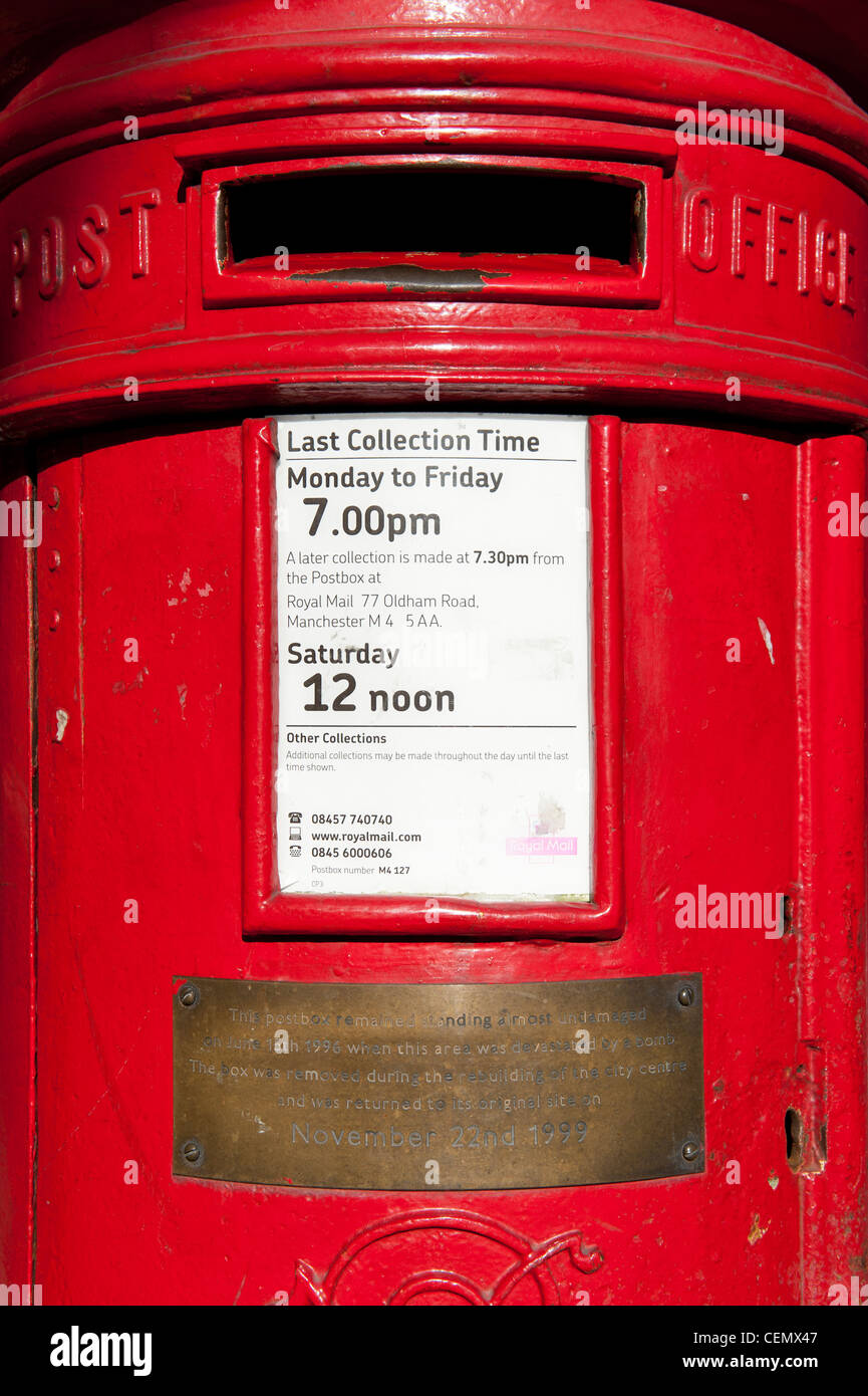 This Post / Pillar / Letter box on Corporation Street, Manchester remained standing after IRA bomb in 1996. - Stock Image