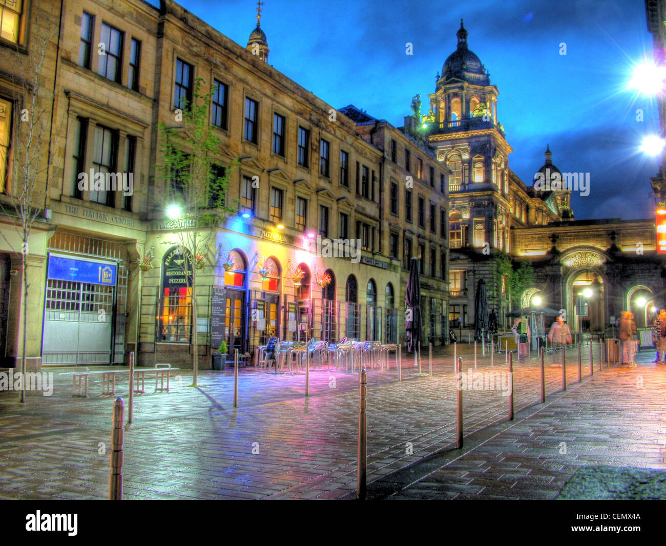 Glasgow by night John St, Merchant City Chambers, Scotland (Strathclyde UK) at dusk with a blue sky. @Hotpixuk Stock Photo