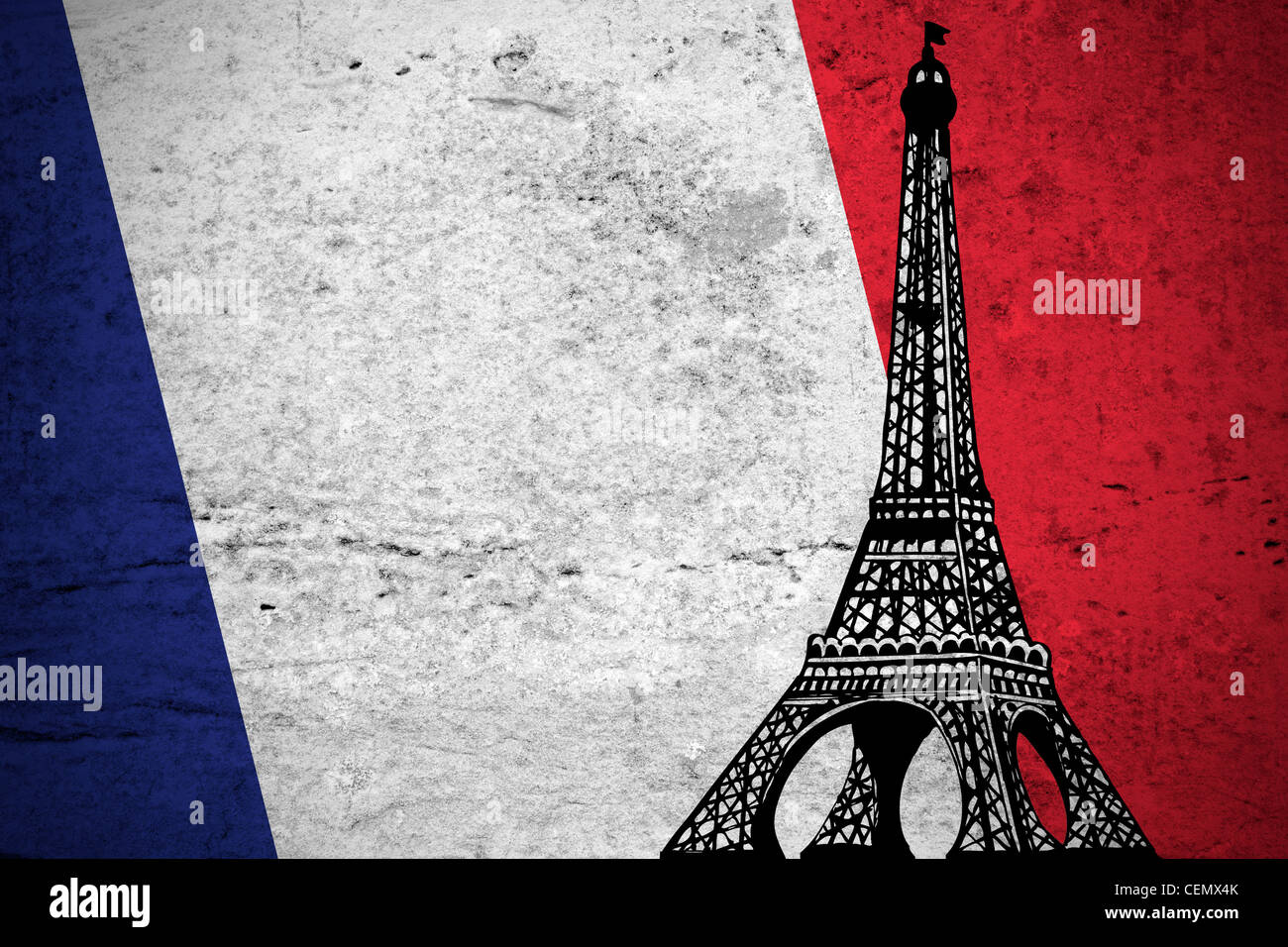 Close view of a grunge French flag illustration with the Eiffel Tower printed. - Stock Image