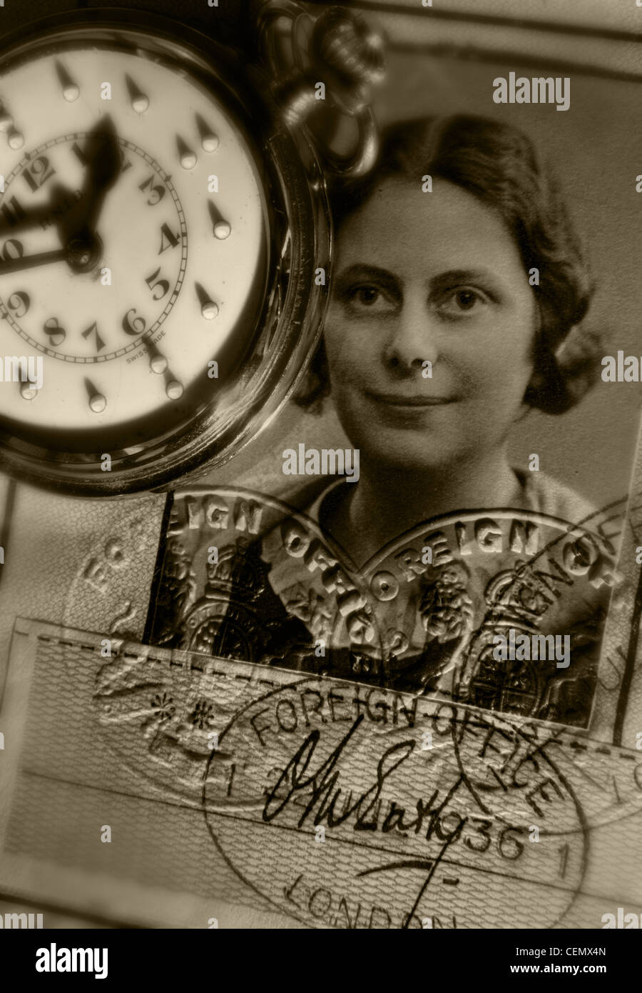 Old British Passport female photograph still life with Braille pocket watch in sepia - Stock Image