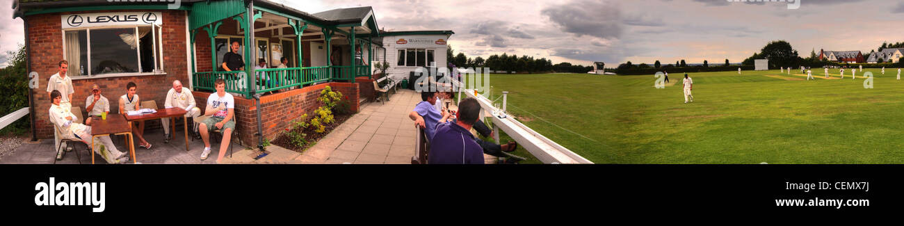 Grappers pano Grappenhall Cricket Club GCCC Cheshire league South Warrington Panorama England UK - Stock Image