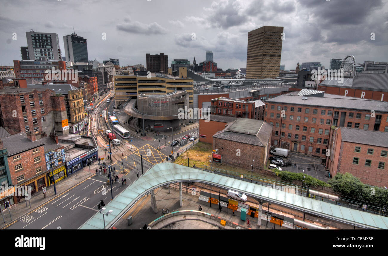 Manchester city view panorama, towards the Arndale shopping centre, Lancashire, England UK - Stock Image