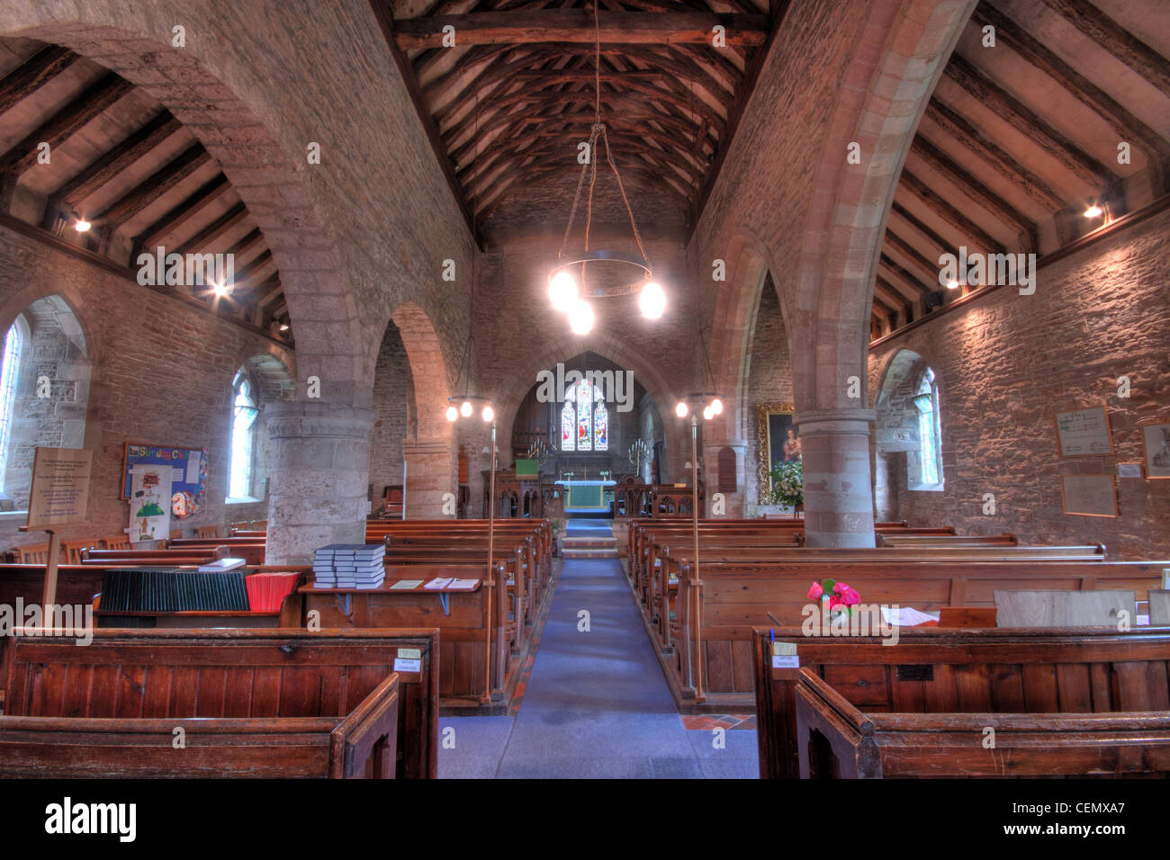 Interior view of St Marys Church Linton, Forest of Dean Micheldean, Gloucester, Glos, England, UK. Shows stonework Stock Photo
