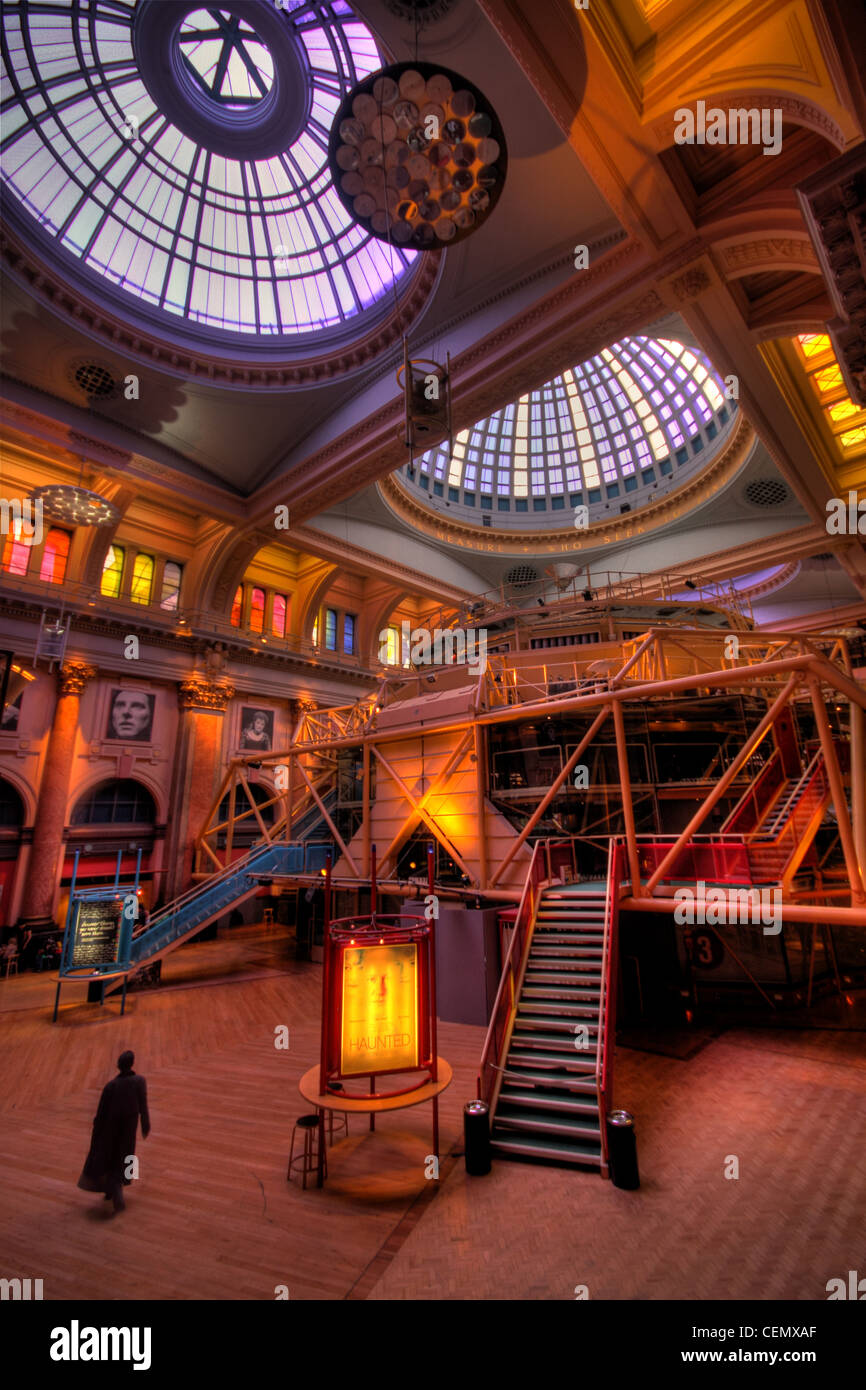 Inside the Royal Exchange Theatre with a person in black, City Centre Manchester, Lancashire, UK England, GMC. Stock Photo