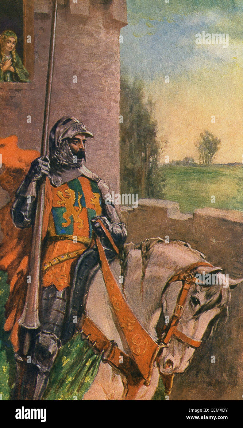 Elaine, the daughter of Bernard of Astolat, pines in a castle tower window as Sir Lancelot, rides off. - Stock Image
