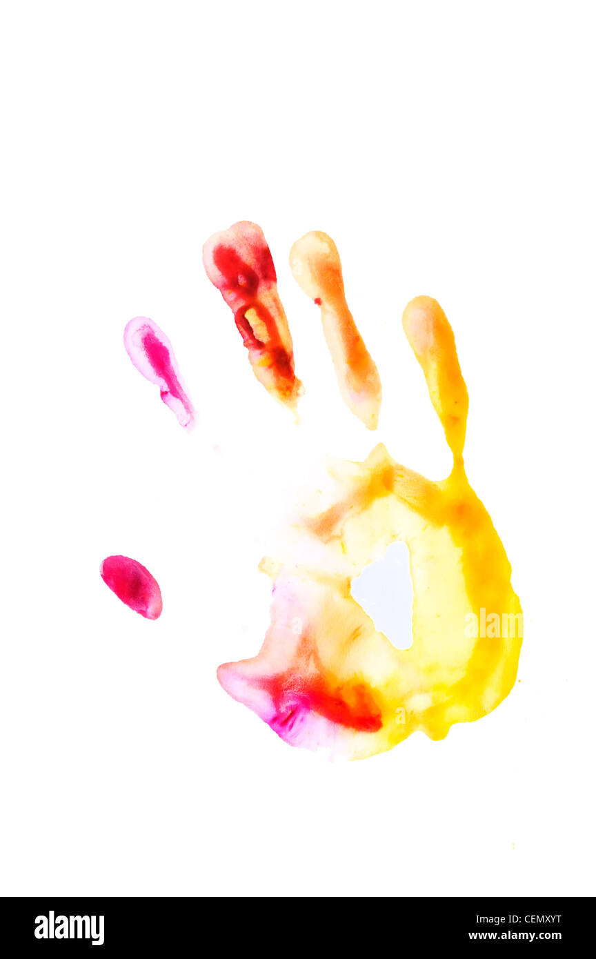 Color/Paint Impression of hand on white surface - Holi Concept - Stock Image