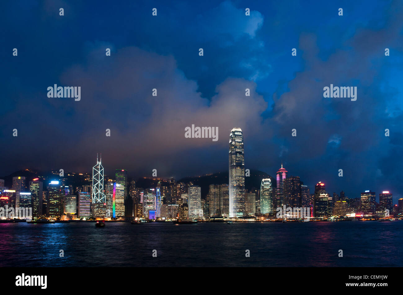 Hong Kong Island At Night During Light Show Stock Photo 43486657